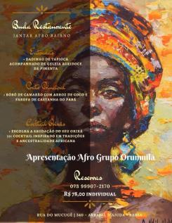 panfleto Jantar Afro Baiano com grupo Afro Orunmilá